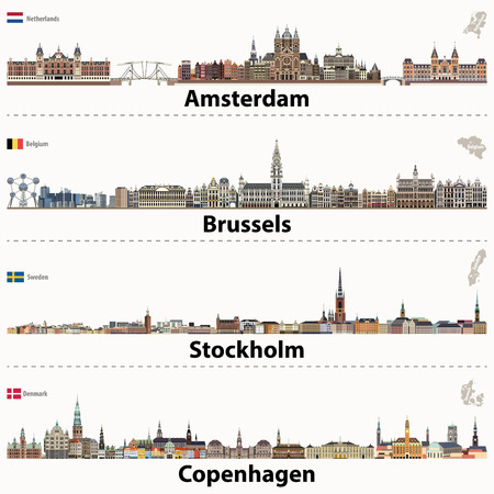 City skylines of Amsterdam, Brussels, Stockholm and Copenhagen.