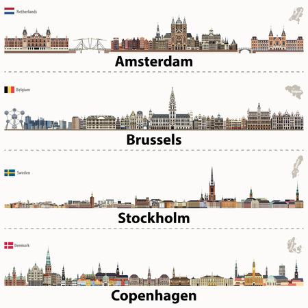 City skylines of Amsterdam, Brussels, Stockholm and Copenhagen. 免版税图像 - 91761480