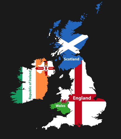 Countries of British Isles: United Kingdom (England, Scotland, Wales, Northern Ireland) and Republic of Ireland map combined with flags Ilustração