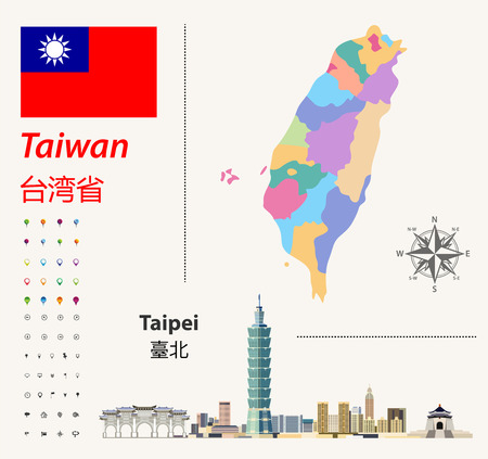 Taiwan vector map and flag. Abstract city skyline of Taipei. Navigation and location icons