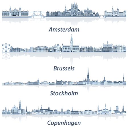 Vector collection of Amsterdam, Brussels, Stockholm and Copenhagen abstract city skylines in tints of blue color palette