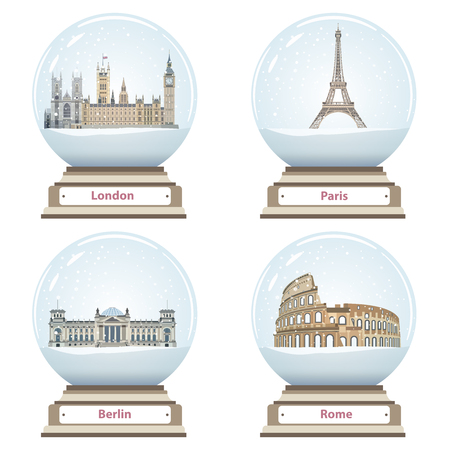Snow globes with London, Paris, Berlin and Rome.