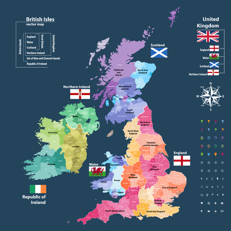 Vector map of British Isles. Districts and counties maps and flags of the United Kingdom, Northern Ireland, Wales, Scotland and Republic of Ireland Vettoriali