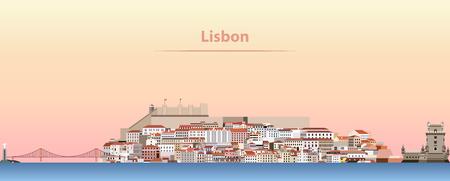 日の出時のリスボン市街のスカイラインのベクトル抽象イラスト