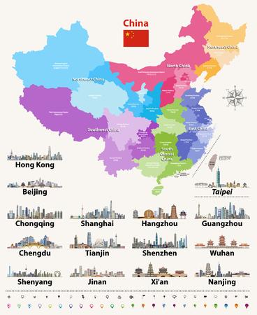 Mapa wektorowa Chin
