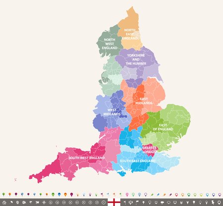 England ceremonial counties vector map Vettoriali