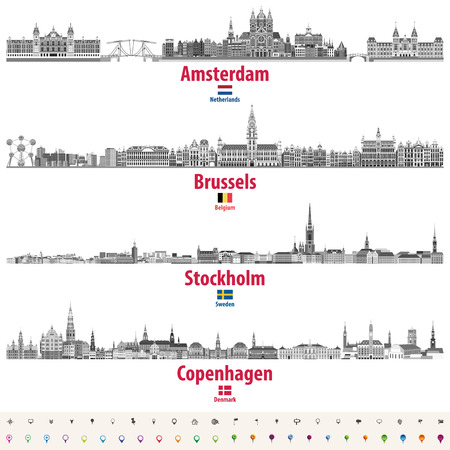 abstract vector illustration of Amsterdam, Brussels, Stockholm and Copenhagen city skylines in black and white color palette. Flags of the Netherlands, Belgium, Sweden and Denmark. Location icons