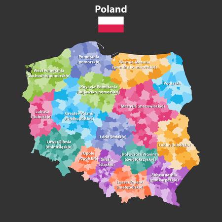 行政区画を持つポーランドの州のベクトルマップ(voivodeshipsとして知られている)。ポーランド語の名前は括弧内に表示され、英語の名前とは