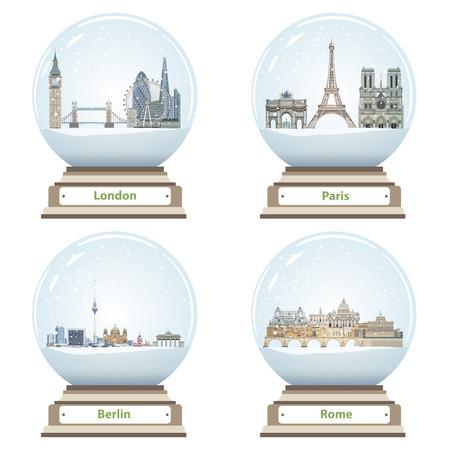 ロンドン、パリ、ベルリン、ローマの抽象的な都市のスカイラインを持つベクトル雪の球体