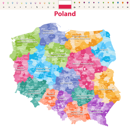 vector map of Poland provinces (known as voivodeships) with administrative divisions. Polish names give in parentheses, where they differ from the English ones.
