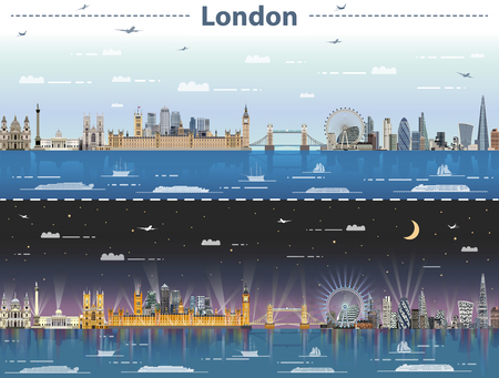 vector illustration of London city skyline at day and night Vectores