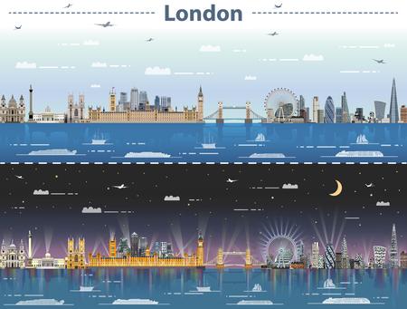 ilustracji wektorowych panoramę Londynu w dzień iw nocy