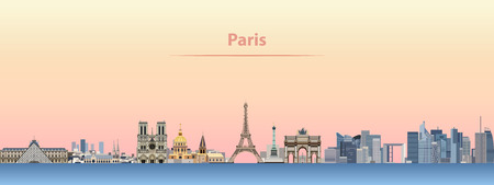 vector skyline of Paris city at sunrise Vector illustration. Иллюстрация