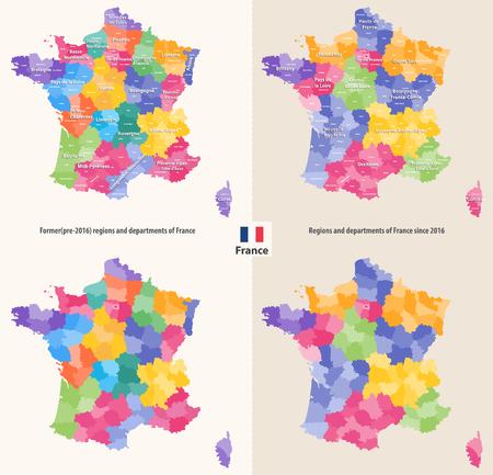 フランスの行政地域と部門は、ベクトルイラストレーション。