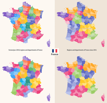 administrative regions and departments of France Vector illustration.