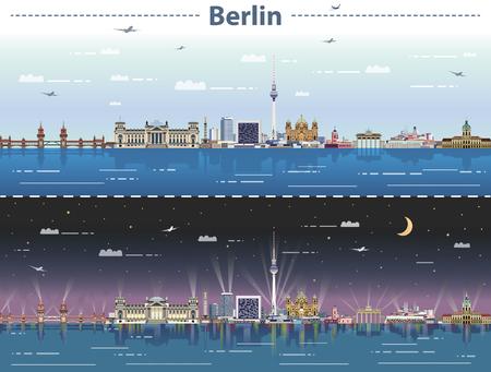 vector city skyline of Berlin at night Vector illustration.
