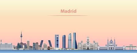 vector abstract illustration of Madrid city skyline at sunrise