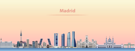 vector abstract illustration of Madrid city skyline at sunrise