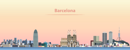 vector abstract illustration of Barcelona city skyline at sunrise