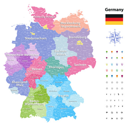 91756096 germany vector map colored by states and administrative districts with subdivisions