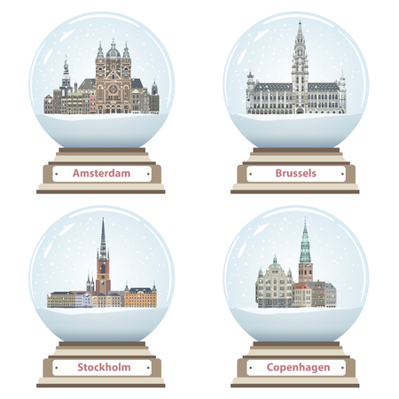vector isolated snow globes with Amsterdam, Brussels, Stockholm and Copenhagen cities landmarks inside