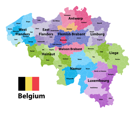 Belgium vector map showing the provinces and administrative subdivisions (municipalities), colored by arrondissements