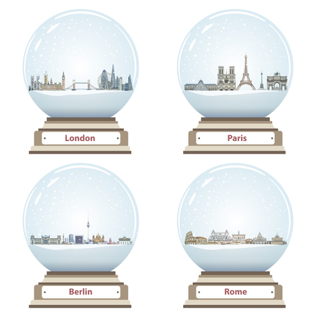 Vector snow globes with London, Paris, Berlin and Rome abstract city skylines inside