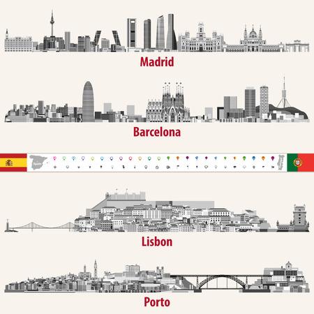 Horizons de vecteur des villes de Madrid, Barcelone, Lisbonne et Porto dans la palette de couleurs des échelles de gris. Drapeaux et cartes de l'Espagne et du Portugal. Icônes de navigation et de localisation. Banque d'images - 91758464