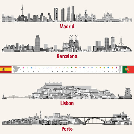 Vector skylines of Madrid, Barcelona, ??Lisbon and Porto cities in gray scales color palette. Flags and maps of Spain and Portugal. Navigation and location icons.