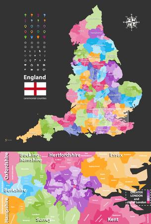 Grande Londra e territori più vicini. Bandiera dell'Inghilterra Icone di posizione, navigazione e viaggio Archivio Fotografico - 91758466