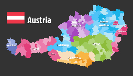 vector map of Austria. Flag of austria, Each state have own color palette