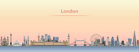 Vector illustration of London skyline at sunrise. Иллюстрация