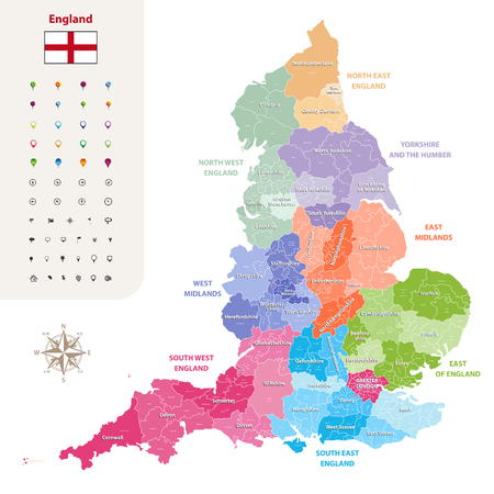 England ceremonial counties vector map.
