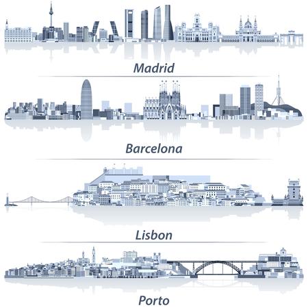 ilustración vectorial abstracta de horizontes de la ciudad de Madrid, Barcelona, ??Lisboa y Oporto en la paleta de colores azul claro con reflejos de agua. Ilustración de vector