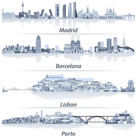 abstract vector illustration of Madrid, Barcelona, Lisbon and Porto city skylines in light blue color palette with water reflections.