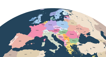 Vector planet Earth globe with close up of Europe continent Illustration