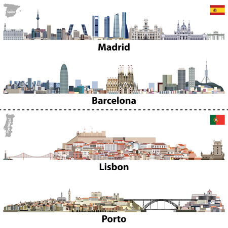 vector illustrations of Madrid, Barcelona, ??Lisbon and Porto city skylines.Maps and flags of Spain and Portugal Vettoriali