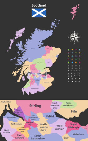 vector map of Scotland, unitary, authorities, with, close, of, region, city, Edinburgh and Glasgow city. Flag of Scotland. Navigation, location and travel icons