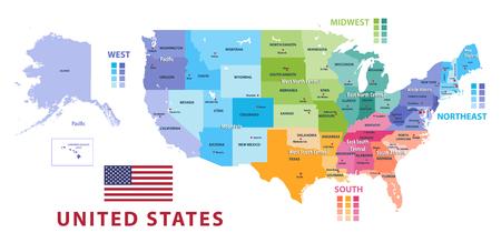 Verenigde Staten census bureau regio's en divisies vector kaart. Vlag van de Verenigde Staten van Amerika