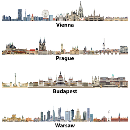 Vector city skylines of Vienna, Prague, Budapest and Warsaw.