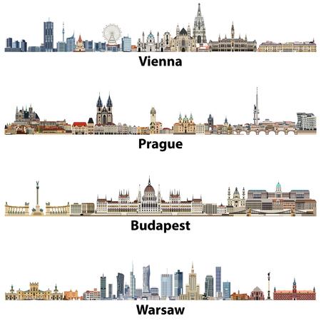 Vector sylwetki miasta Wiednia, Pragi, Budapesztu i Warszawy. Ilustracje wektorowe
