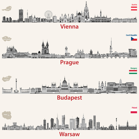 Vector city skylines of Vienna, Prague, Budapest and Warsaw. Maps and flags of Austria, Czech Republic, Budapest and Poland. Ilustração