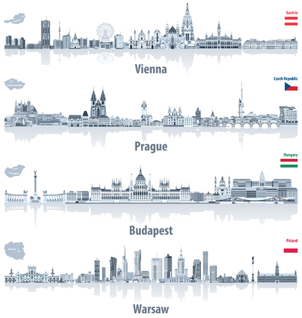 Vector abstract city skylines of Vienna, Prague, Budapest and Warsaw in light azure color palette. Flags and maps of Austria, Czech Republic, Hungary and Poland