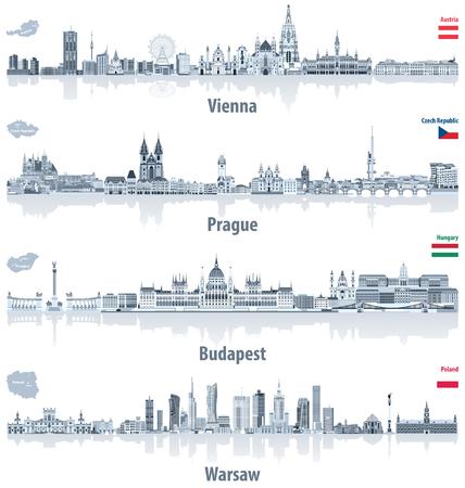 Wektor abstrakcyjne sylwetki miasta Wiednia, Pragi, Budapesztu i Warszawy w jasnoniebieskiej palecie kolorów. Flagi i mapy Austrii, Czech, Węgier i Polski