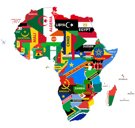 vector political map of Africa with all country flags