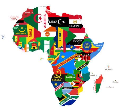 vector politieke kaart van Afrika met alle vlaggen van het land Stock Illustratie