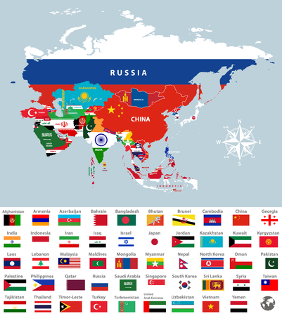 Azië kaart verbonden met vlaggen van het land. Alle Aziatische landen vlaggen. Stockfoto - 93774302