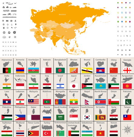 Asia political map, location, navigation and travel icons. Asian countries maps and flags vector set. Illustration