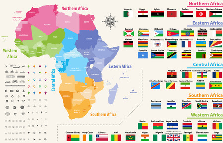 vector map of Africa. All flags of African countries arranged in alphabetical order and singled out by regions Illustration