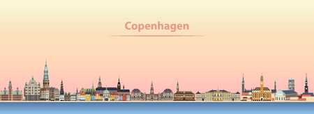 abstract vector illustration of Copenhagen city skyline at sunrise